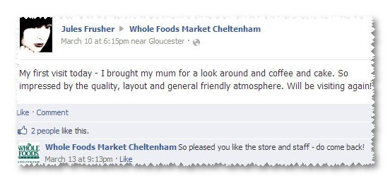 go to Whole Foods Facebook Page
