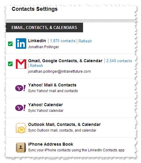 LinkedIn Contacts does the business | Intranet Future