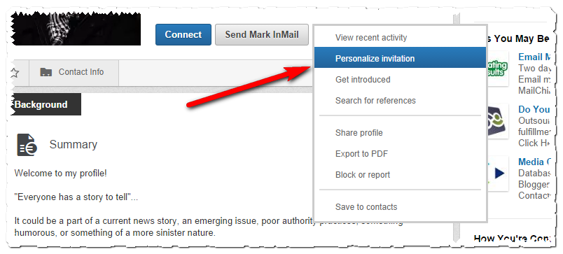 Personalise invitation option on LinkedIn