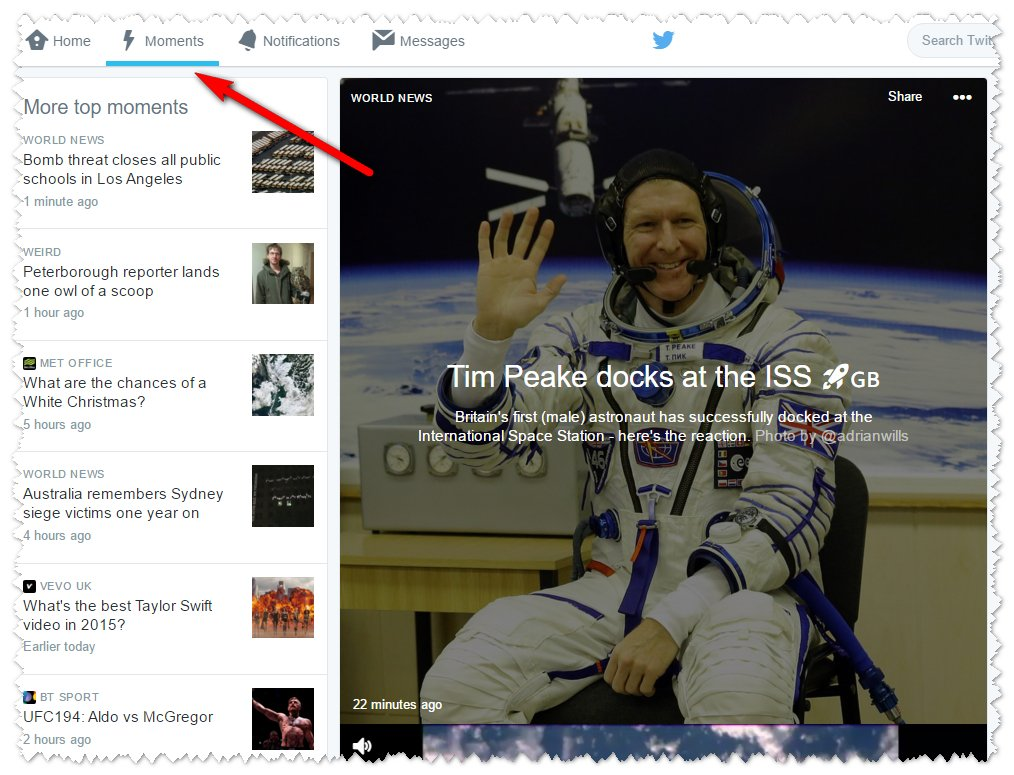 Twitter Moments example