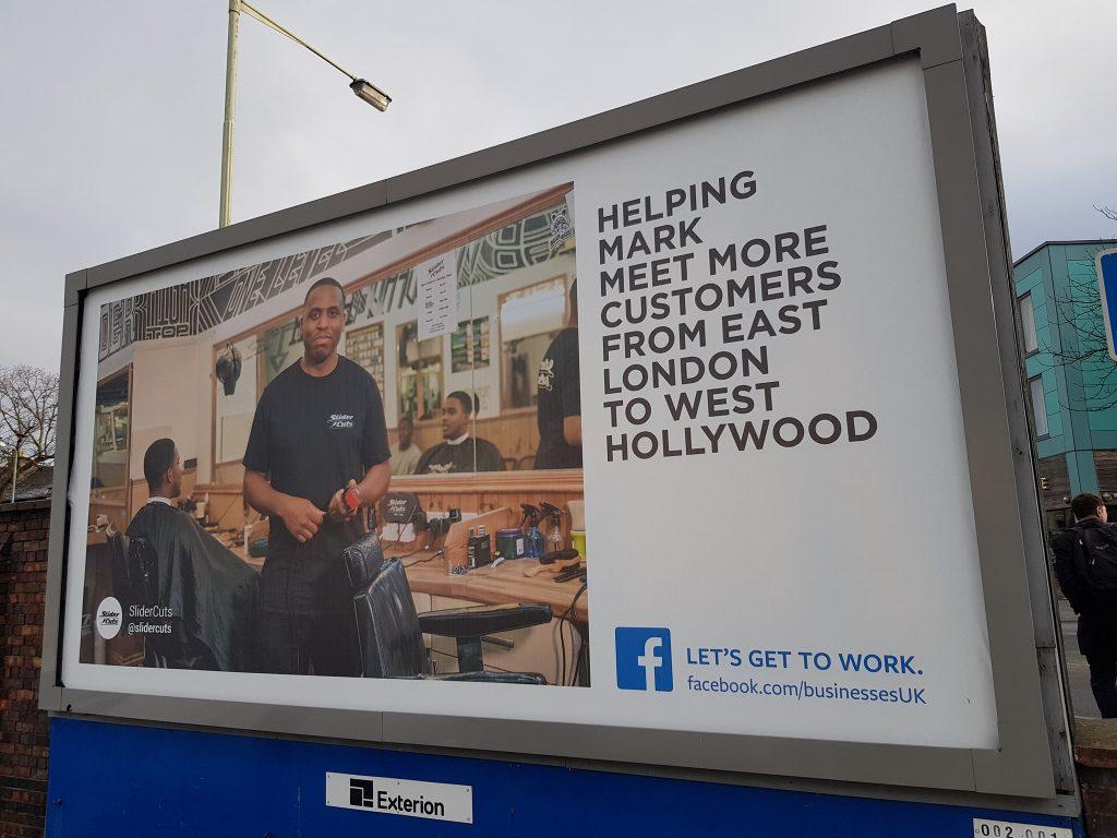 Facebook ad on billboard