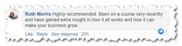 Facebook testimonial for Jonathan Pollinger, Social Media Trainer