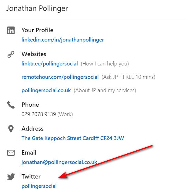 How to add a Twitter link to your LinkedIn Profile - Contact info settings
